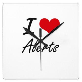 I Love Alerts Artistic Design Wallclock