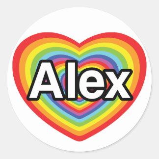 I love Alex, rainbow heart Classic Round Sticker