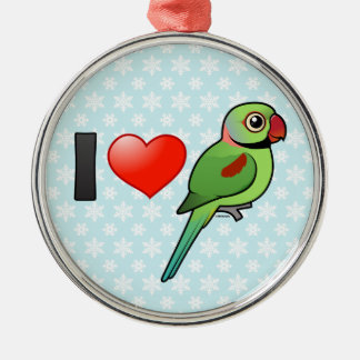 I Love Alexandrine Parakeets Christmas Ornament