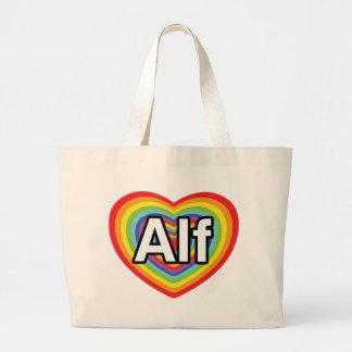 I love Alf rainbow heart Bag