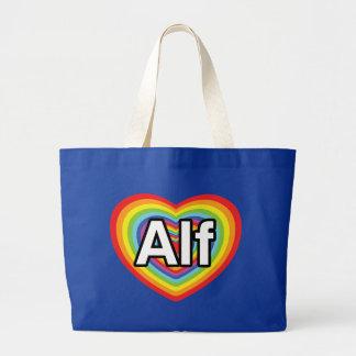 I love Alf rainbow heart Canvas Bag
