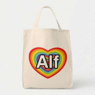 I love Alf rainbow heart Tote Bag