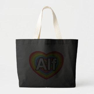 I love Alf rainbow heart Tote Bags