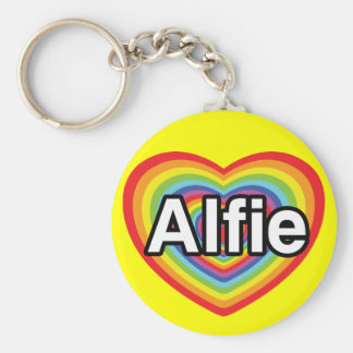I love Alfie, rainbow heart Basic Round Button Key Ring