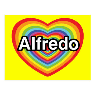 I love Alfredo, rainbow heart Postcard