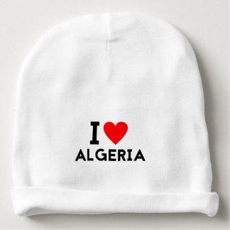 i love Algeria country nation heart symbol text Baby Beanie