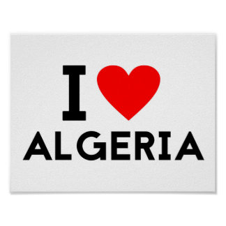 i love Algeria country nation heart symbol text Poster