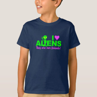 I Love Aliens shirt - choose style & color