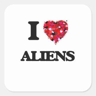 I Love Aliens Square Sticker