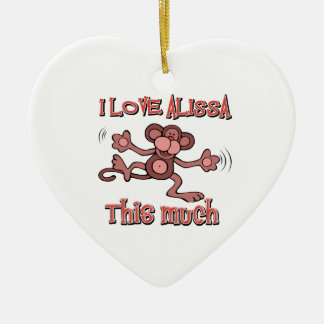 I Love alissa Ceramic Heart Decoration