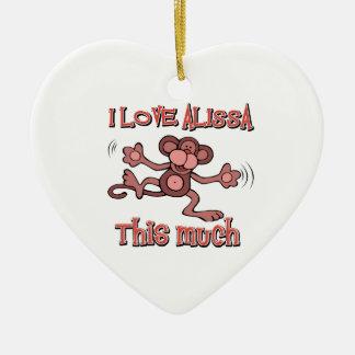 I Love alissa Ceramic Heart Decoration