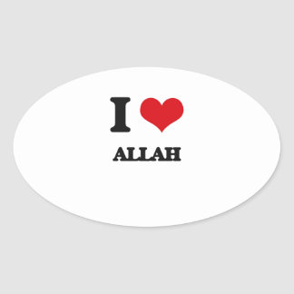 I Love Allah Oval Stickers