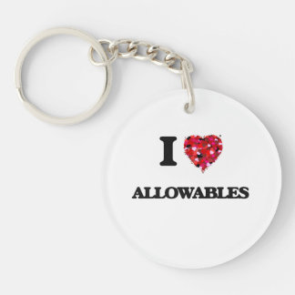 I Love Allowables Single-Sided Round Acrylic Key Ring