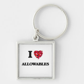I Love Allowables Silver-Colored Square Key Ring