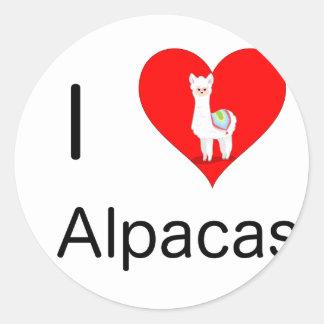 I love alpacas classic round sticker