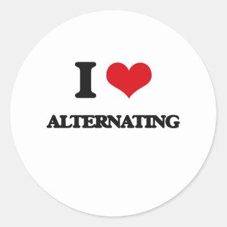 I Love Alternating Round Stickers