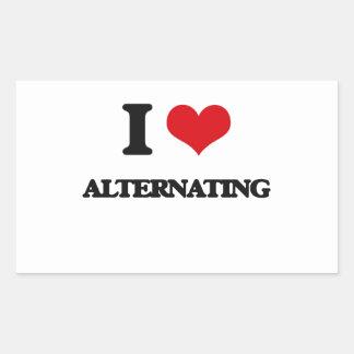 I Love Alternating Rectangle Stickers