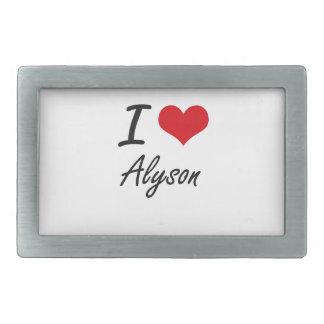 I Love Alyson artistic design Belt Buckles