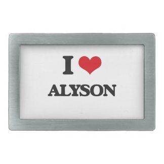 I Love Alyson Rectangular Belt Buckle