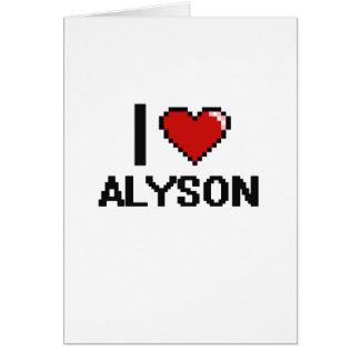 I Love Alyson Digital Retro Design Greeting Card