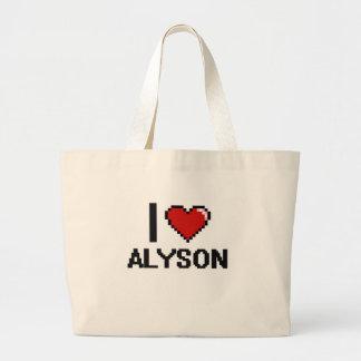 I Love Alyson Digital Retro Design Jumbo Tote Bag