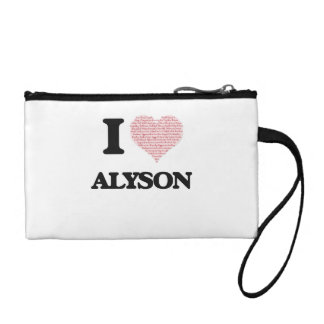 I love Alyson (heart made from words) design Change Purses