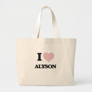 I love Alyson (heart made from words) design Jumbo Tote Bag