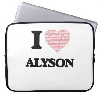 I love Alyson (heart made from words) design Laptop Sleeve