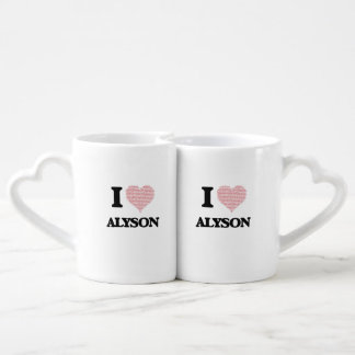 I love Alyson (heart made from words) design Lovers Mug