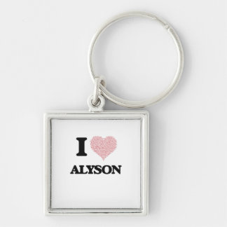 I love Alyson (heart made from words) design Silver-Colored Square Key Ring