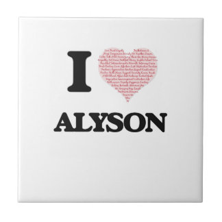 I love Alyson (heart made from words) design Small Square Tile
