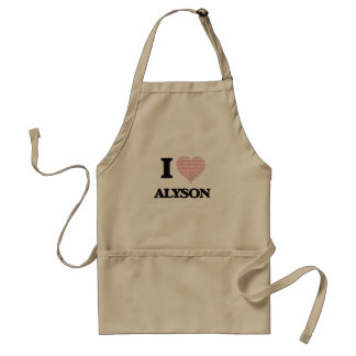 I love Alyson (heart made from words) design Standard Apron