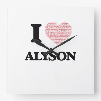 I love Alyson (heart made from words) design Wall Clock