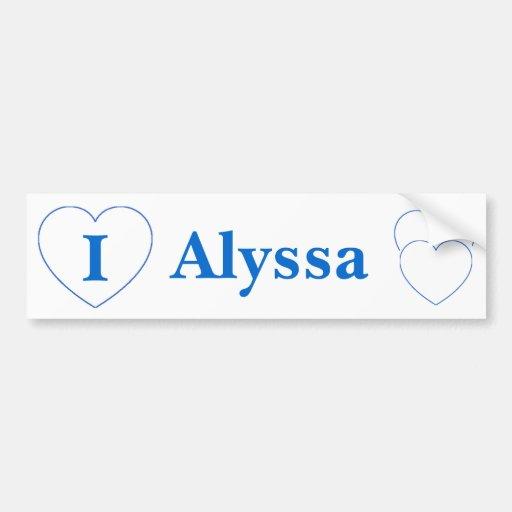 I Love Alyssa (BpS) Bumper Stickers