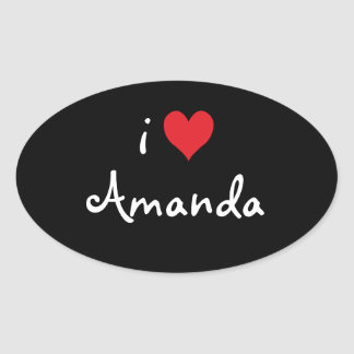 I Love Amanda Oval Sticker