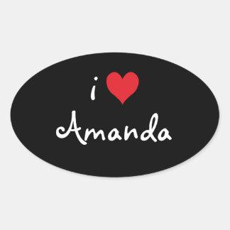I Love Amanda Oval Stickers
