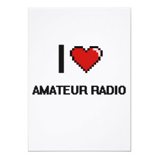I Love Amateur Radio Digital Retro Design 5x7 Paper Invitation Card