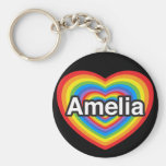 I love Amelia. I love you Amelia. Heart Basic Round Button Key Ring