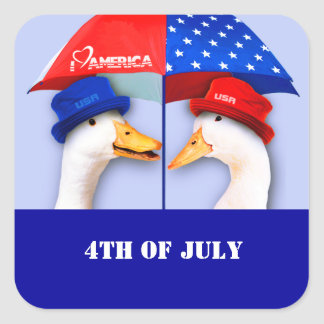 I Love America. Funny Ducks 4th of July Stickers