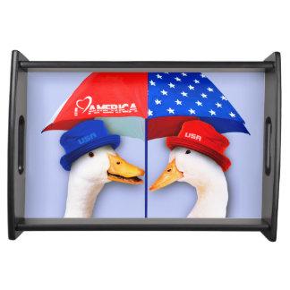 I Love America. Funny Ducks Design Serving Tray