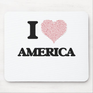 I love America (heart made from words) design Mouse Pad