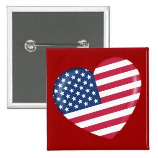 I Love America - Heart of Patriotic American 15 Cm Square Badge