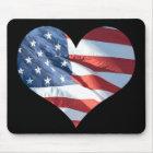 I Love America - Heart Shaped American Flag Mouse Mat