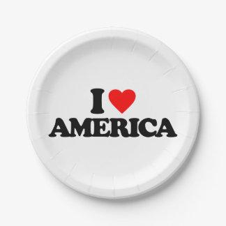 I LOVE AMERICA PAPER PLATE