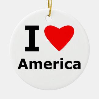 I Love America Round Ceramic Decoration