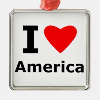 I Love America Silver-Colored Square Decoration