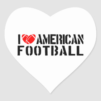 I Love American Football Heart Sticker