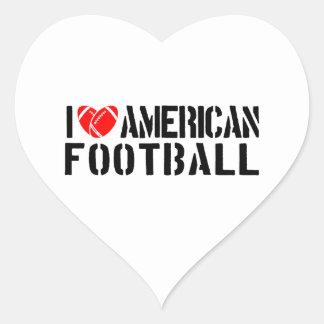 I Love American Football Heart Sticker
