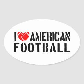 I Love American Football Oval Sticker