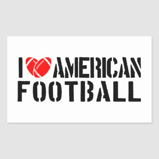 I Love American Football Rectangular Sticker